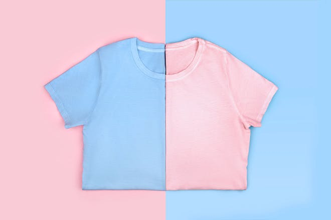 Blue and pink tshirts