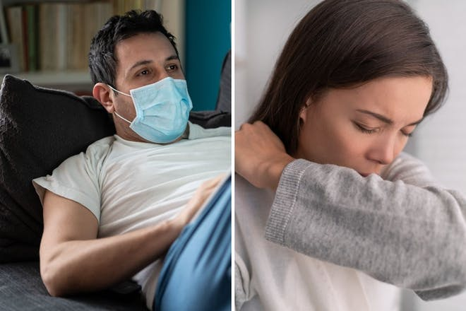 left: man in mask on sofaright: woman coughs into arm