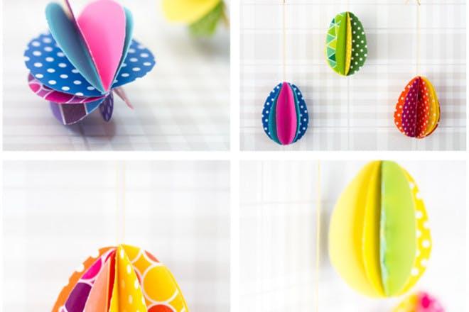 Colourful paper eggs