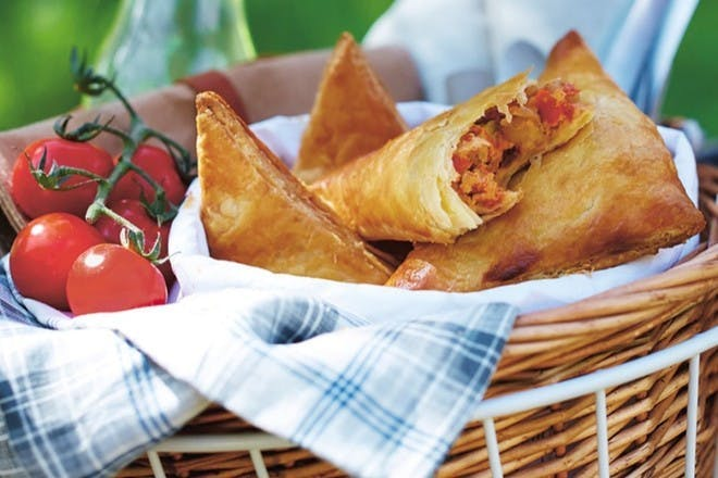 Courgette, chickpea and tomato pasties
