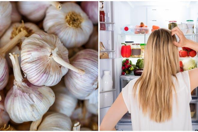 Garlic and woman looking in fridge