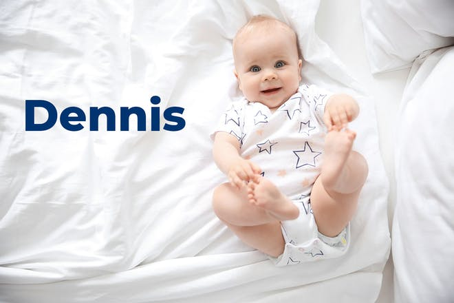 Baby lying on back holding feet. Name Dennis written in text