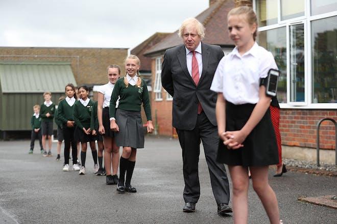 Boris Johnson at reopened primary school