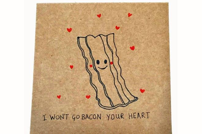 bacon Valentine's card