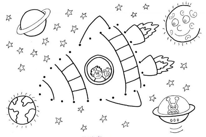 space ship with planets, sun and alien