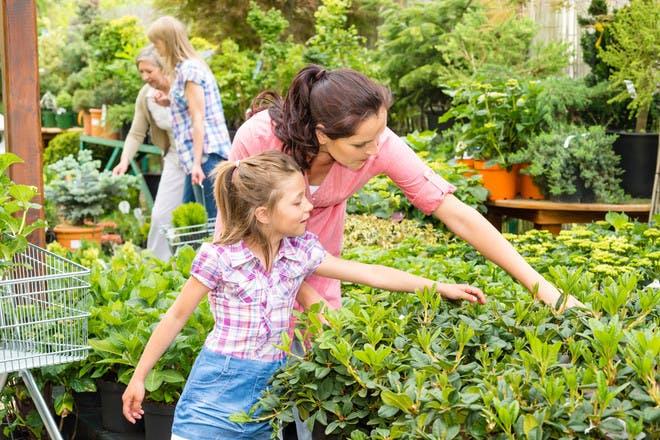 little girl at garden centre with her mum