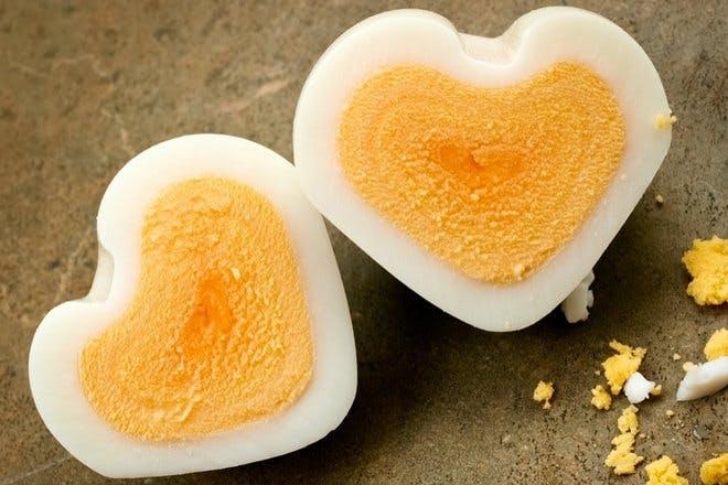Heart-shaped boiled egg