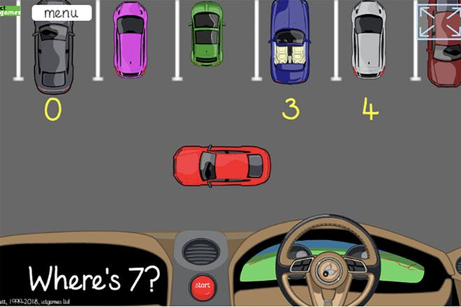 Counting cars game showing animated cars and numbers in a car park