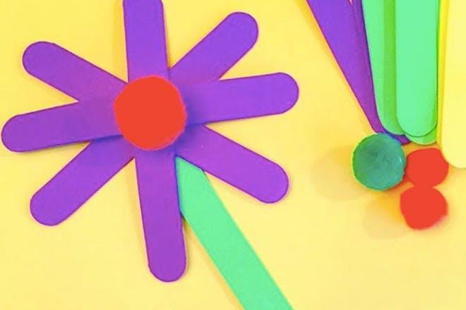 Lollipop stick flowers