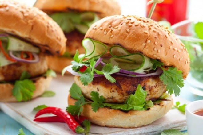 15. Mediterranean chicken burgers