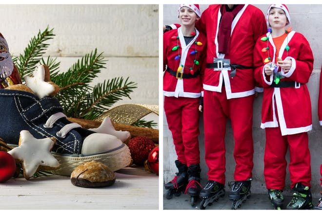 Child's shoe filled with chocolate and sweets / family dressed up as santa on roller skates