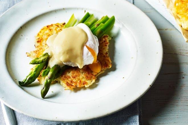 Potato rostis with poached eggs