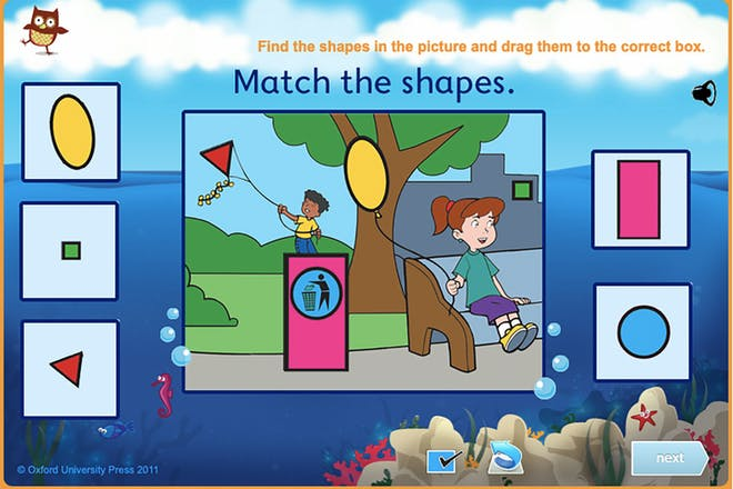 Screen from Match the Shapes picture of girl with balloon and boy with kite