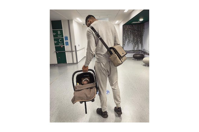 Theo Campbell with his baby