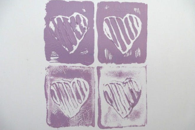hearts painted in purple
