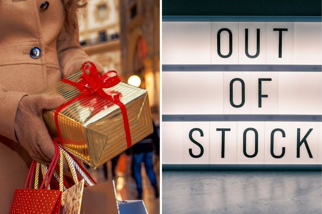 left: Woman holding christmas presentRight: Out of stock sign