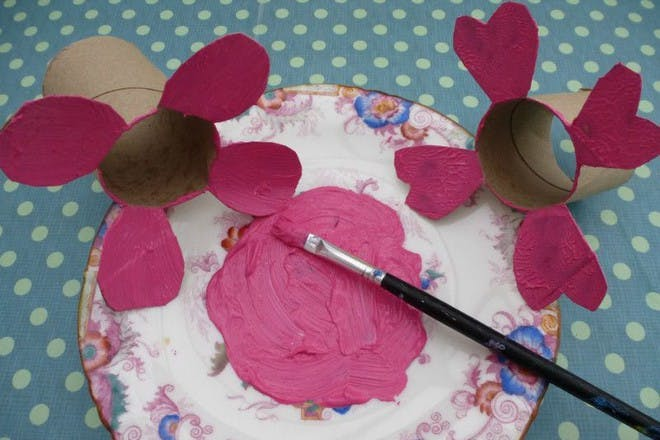 cut and painted toilet rolls