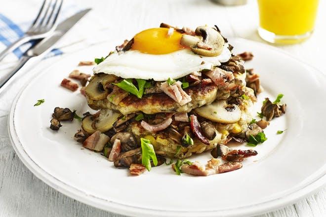 Mushroom, bacon and eggs savoury pancakes recipe