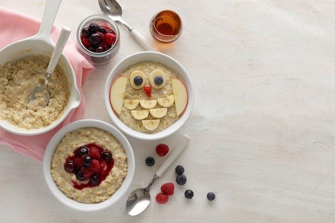 Almond milk and berry porridge