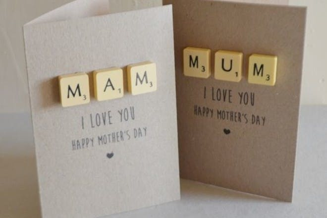 Mother's Day card with Scrabble letters