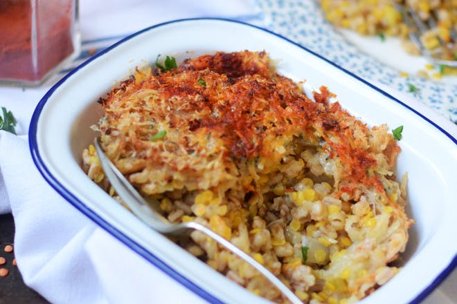 Baked lentil risotto recipe with parsnips and potatoes