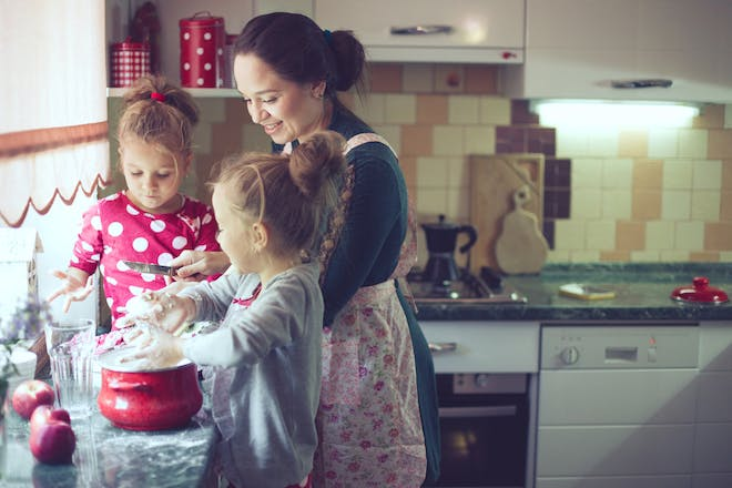 mum cooking with her kids
