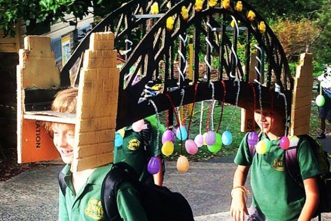 boys with bridge hat easter bonnet