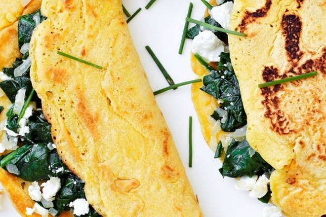 19. Spinach and feta chickpea pancakes