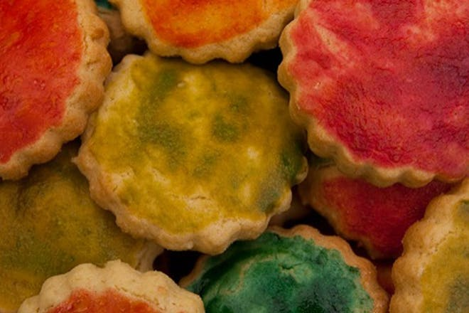 Colourful painted biscuits