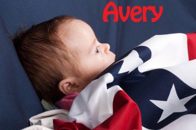 baby under american flag