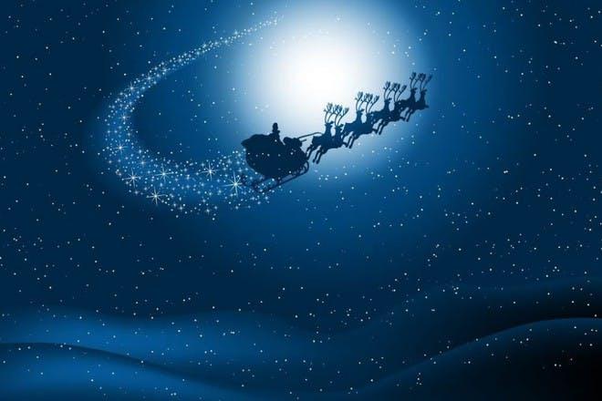 santa sleigh in the sky