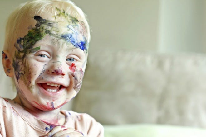 boy with paint on his face