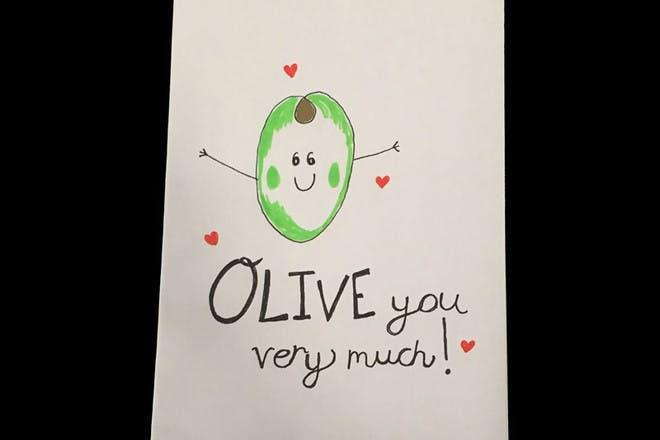 olive Valentine's card