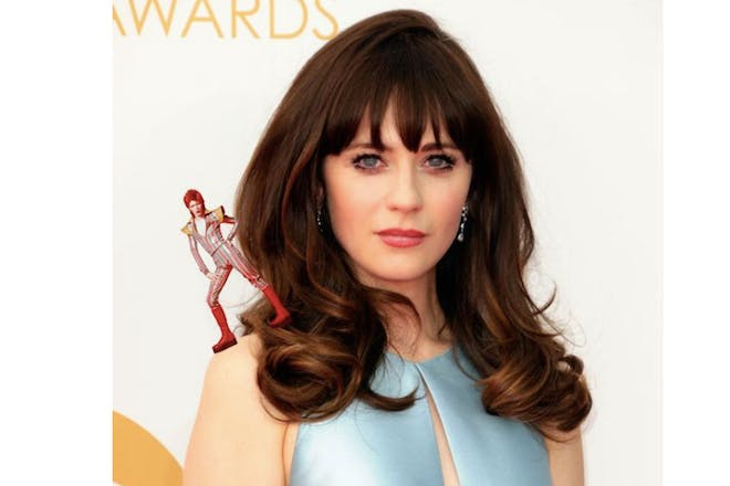Zooey Deschanel with David Bowie photoshopped on her shoulder