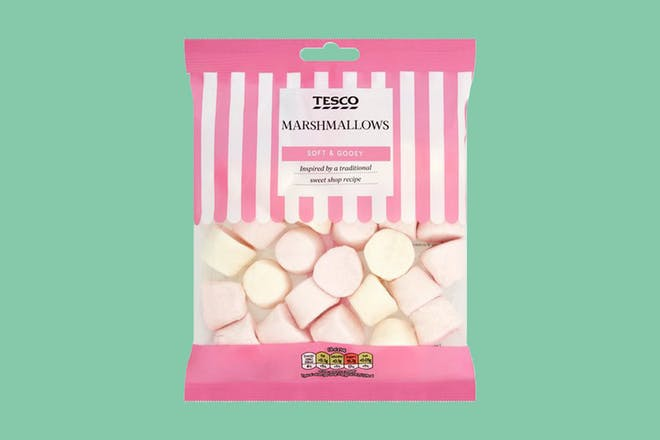 A sharing bag of Marshmallows on a teal background