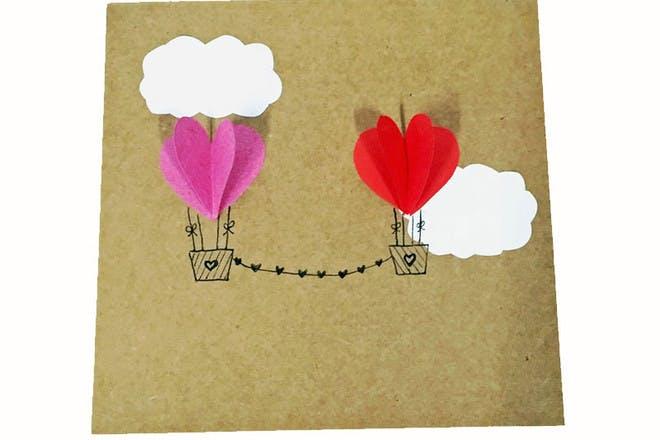 hot air balloon Valentine's card
