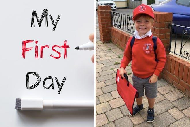 Left: My First Day signRight: Boy in school uniform