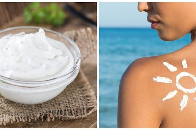 Sour cream dip / suntan lotion