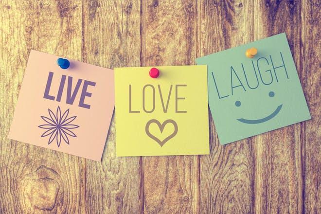 'Live, Love, Laugh' post-it notes
