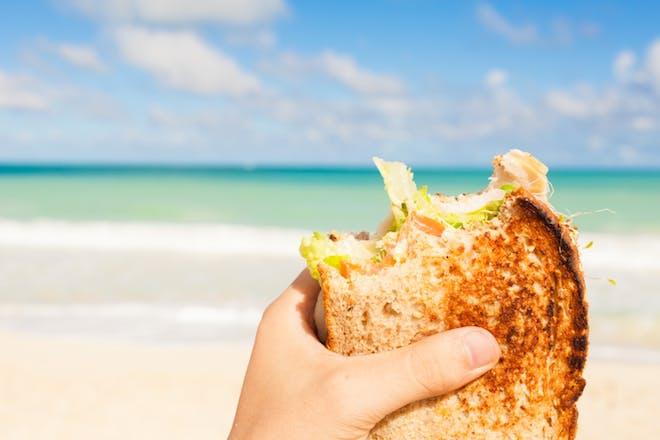 Nostalgic holidays sandwiches on the beach