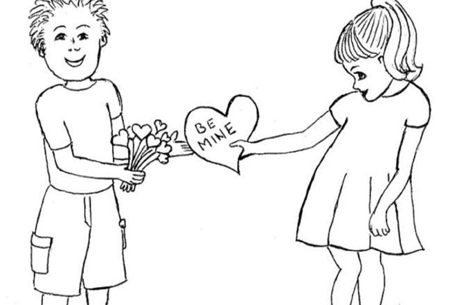 Boy and girl Valentine's card