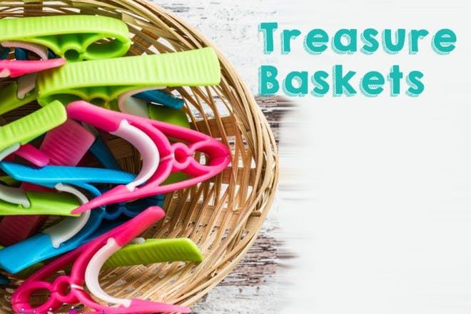basket of colourful pegs