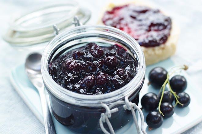 Blackberry jam in a jar
