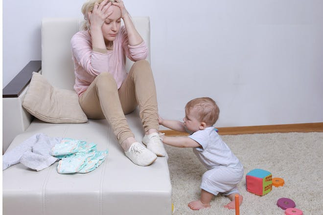 Tired mum with overactive toddler