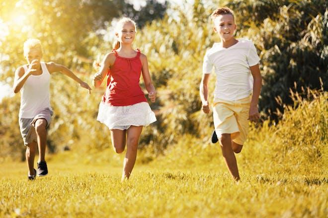 Children chasing each other