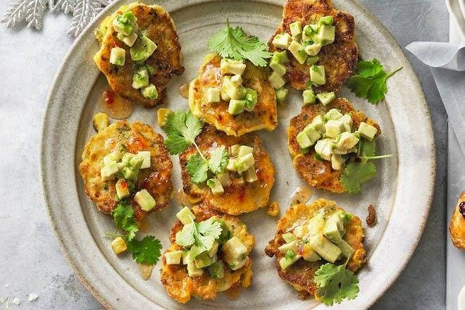 Sweetcorn, polenta and avocado fritters