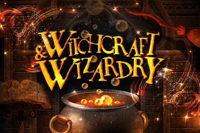 bubbling cauldron, text says 'Witchcraft & Wizardry'