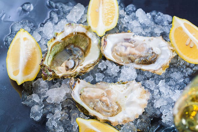 Oysters and lemons on ice