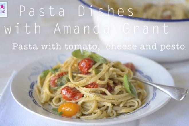Tomato, cheese and pesto pasta