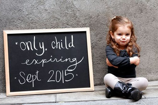 Only child pregnancy announcement